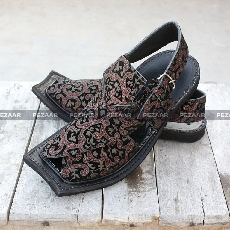 Brown hand made velvet  Peshawari Chappal for Men from pakistan